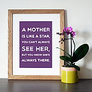 'A Mother Is Like A Star' Quote Print