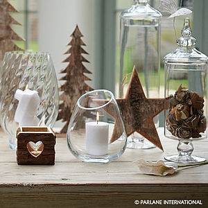 Wooden Bark Heart Lantern - votives & tea light holders