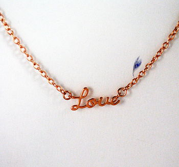 Rose Gold Love Word Necklace