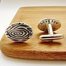 Silver Woodgrain Secret Message Cufflinks