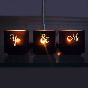 You And Me Tealight Candle Holder Set - votives & tea light holders