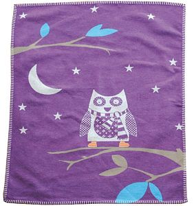 Cotton Owl Blanket Purple - bedspreads & quilts