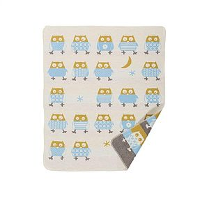 Cotton Owl Print Blanket - sleeping