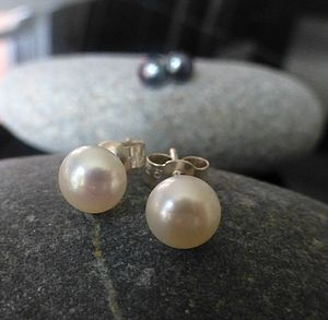 Freshwater Pearl And Sterling Silver Studs - earrings