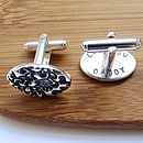Secret Message Blossom Silver Cufflinks