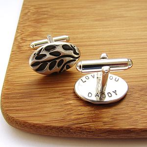 Silver Leaves Secret Message Cufflinks