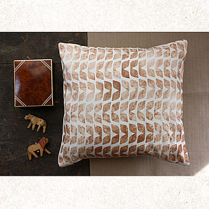 Chestnut Leaves Cushion - quirky neutral living room