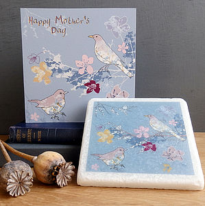 Mother's Day Blackbirds And Blossom Gift Set - mixed media & collage