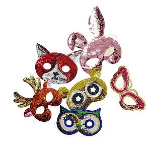 Kids Sequin Animal Mask Set Of Six - toys & games