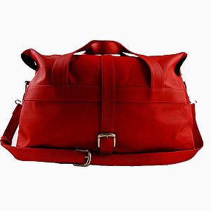 Handcrafted Red Leather Travel Bag - men's accessories