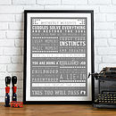 Personalised 'Parent' Advice Print - Grey & White