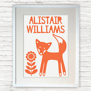 Personalised New Baby 'Retro Fox' Print