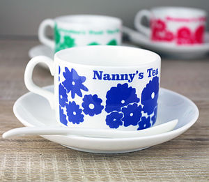 Personalised Flower Cup And Saucer Set - gifts for grandmothers