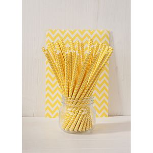 Yellow Paper Party Straws - on trend: yellow & grey