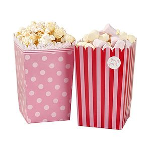 Pink Snack Or Popcorn Holders - picnics & barbecues
