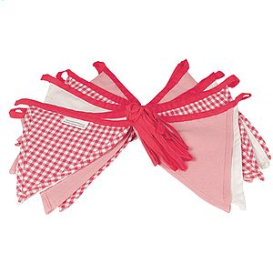Girl's Bunting   Pink Gingham 5m - bunting & garlands