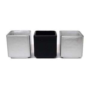 Three Black And Silver Tealight Holders - lighting