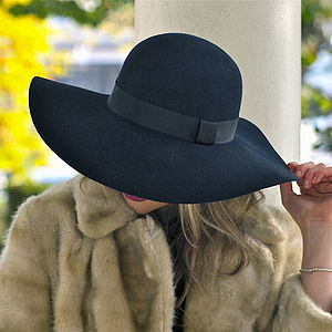 Navy Luxe Floppy Wool Hat - womens