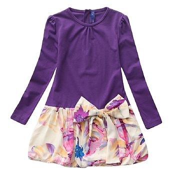 Girl's Violet Floral Drop Waist Dress