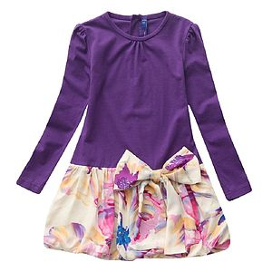 Girl's Violet Floral Drop Waist Dress - wedding and party outfits