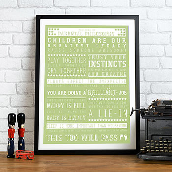 Personalised 'New Parent' Print - Green