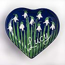 Personalised Snowdrop Heart Plate