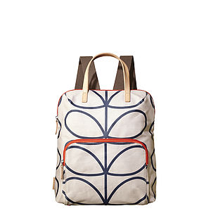 Matt Laminated Orla Kiely Backpack   Stone - garden
