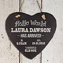 Personalised New Baby Slate Heart Keepsake