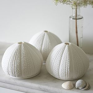 Coastal Porcelain Sea Urchin Tea Lights - candles & home fragrance