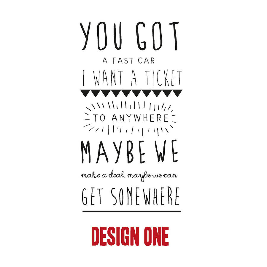 Free Weights Your Design Lyrics: Personalised Song Lyric Print By Oakdene Designs
