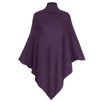 Luxurious Diagonal Rib Merino Wool Poncho