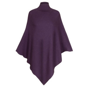 Luxurious Diagonal Rib Merino Wool Poncho - jumpers & cardigans