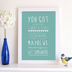 Personalised Song Lyric Print - personalised