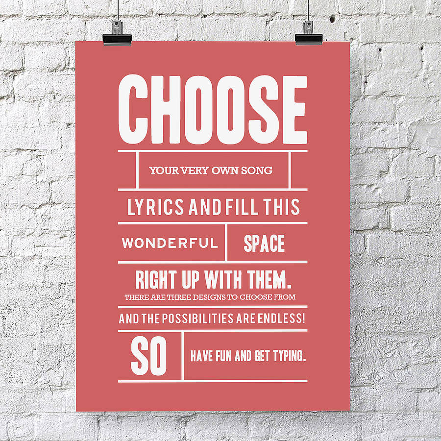 Personalised song lyrics print by oakdene designs personalised song lyrics print stopboris Choice Image