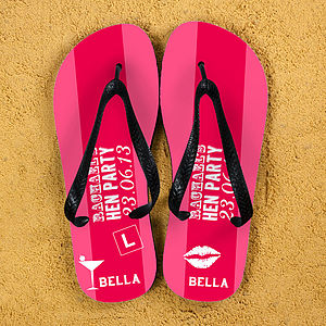 Hen Party Personalised Flip Flops - hen party dress up