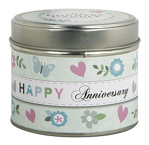 'Happy Anniversary' Scented Candle In A Tin - candles & candlesticks