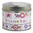 'Thank You' Scented Candle In A Tin