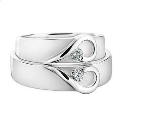 His And Hers White Gold Heart Wedding Bands - rings