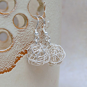 Sterling Silver 'Bird's Nest' Earrings - wedding jewellery