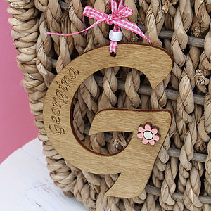 Personalised Initial Name Tag - decorative letters