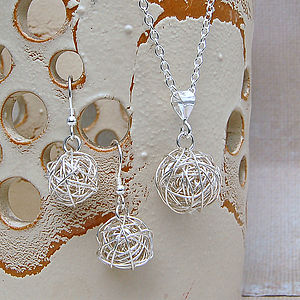 Silver Bird's Nest Necklace & Earrings