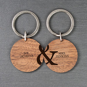Personalised Couples Keyrings - men's accessories