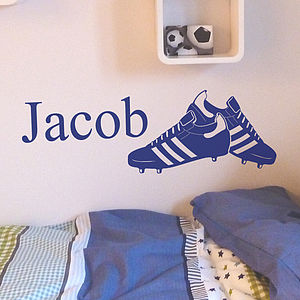 Personalised Football Boots Wall Sticker - office & study