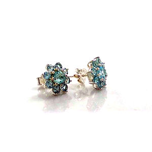 Blue Topaz Flower Silver Earrings - something blue