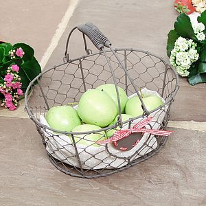 Heart Chickenwire Storage Basket Trug - storage