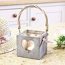 French Grey Heart Candle Holder