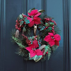 Luxury Poinsettia, Pinecones And Berry Wreath - wreaths