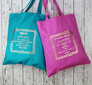 Metallic Personalised Shopping Tote