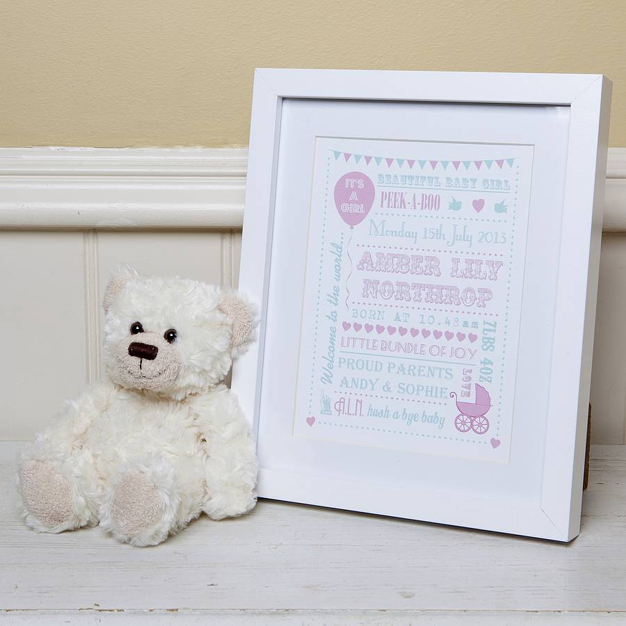 Personalised New Baby Typography Gift Print