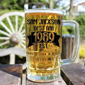 Personalised Dad Beer Glass Tankard - glassware